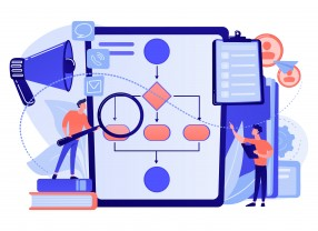 Businessmen with magnifier looking at business process flow chart. Business rules and regulation, main company policy, IT business analysis concept. Pink coral blue vector isolated illustration
